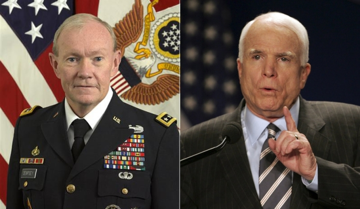 McCain harangues Dempsy, Obama wants invasion plans for Syria
