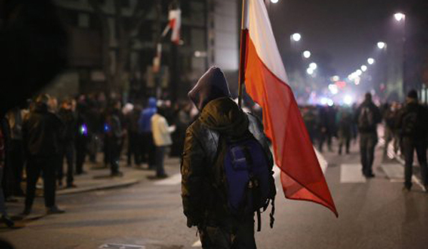 Protests in Warsaw, Poland